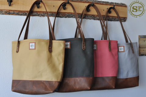 Duck Canvas Tote with Leather Handles