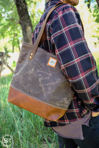 Martexin Waxed Canvas Tote with Leather Handles