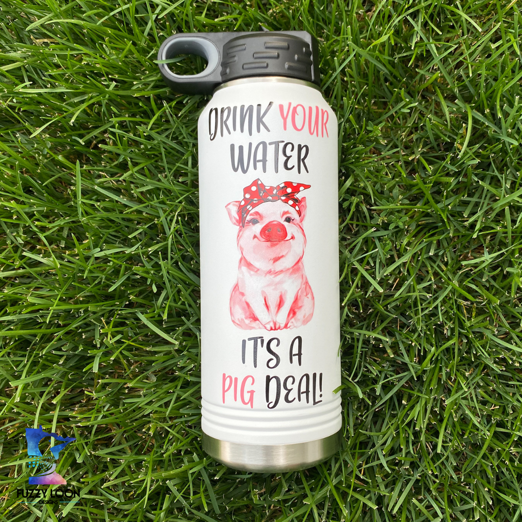 It's a Pig Deal | 32oz Insulated Bottle with Straw and Spout
