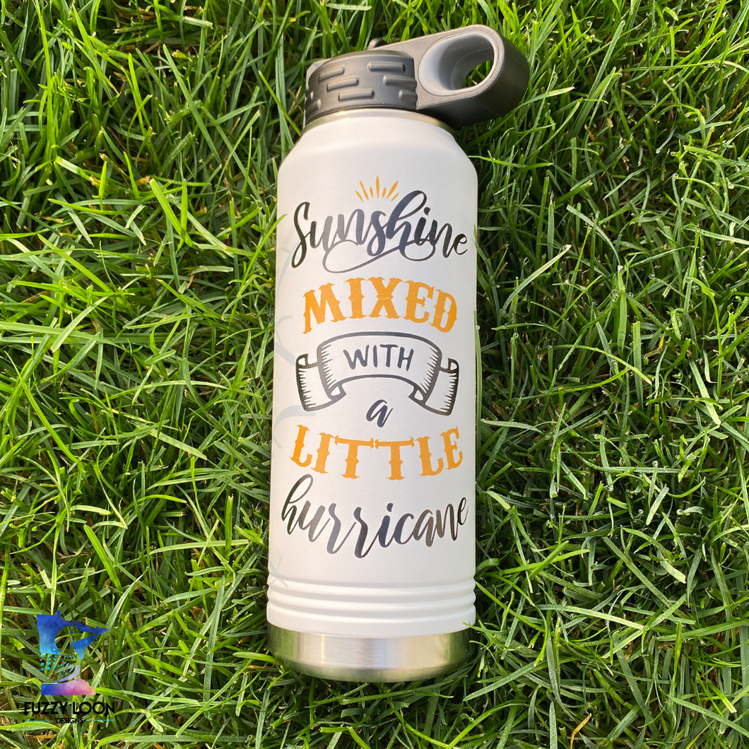 Sunshine Mixed with Hurricane | 32oz Insulated Bottle with Straw and Spout