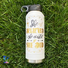 She Believed She Could So She Did | 32oz Insulated Bottle with Straw and Spout