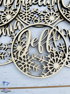 Personalized Wood Snowflake Ornament