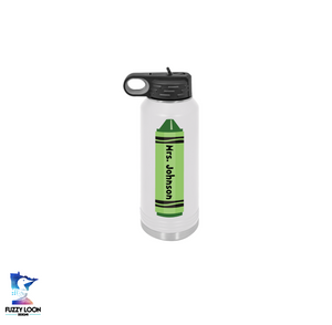 Teacher Crayon | 32oz Insulated Bottle with Straw and Spout