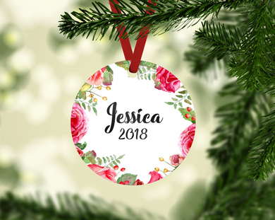 Personalized Floral Wreath Ornament
