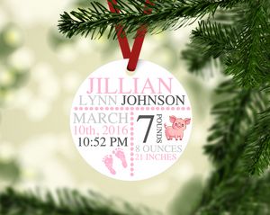 Piggy Themed Birth Stat Keepsake Ornament