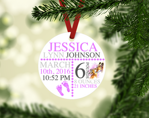 Mom and Baby Fox Themed Birth Stat Keepsake Ornament