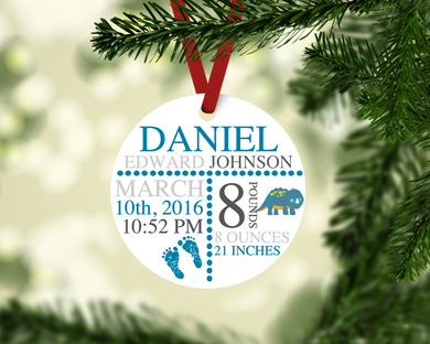 Dinosaur Themed Birth Stat Keepsake Ornament