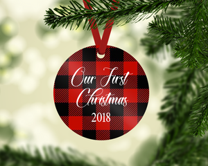 Our First Christmas Buffalo Plaid Ornament
