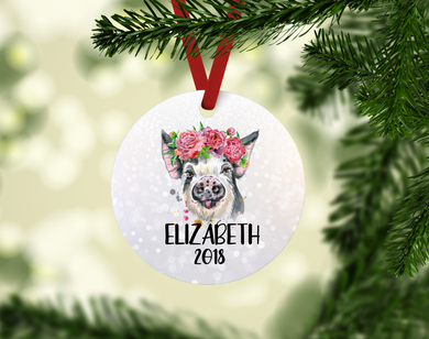Cute Personalized Watercolor Pig Ornament