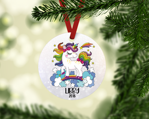 Personalized Unicorn Ornament