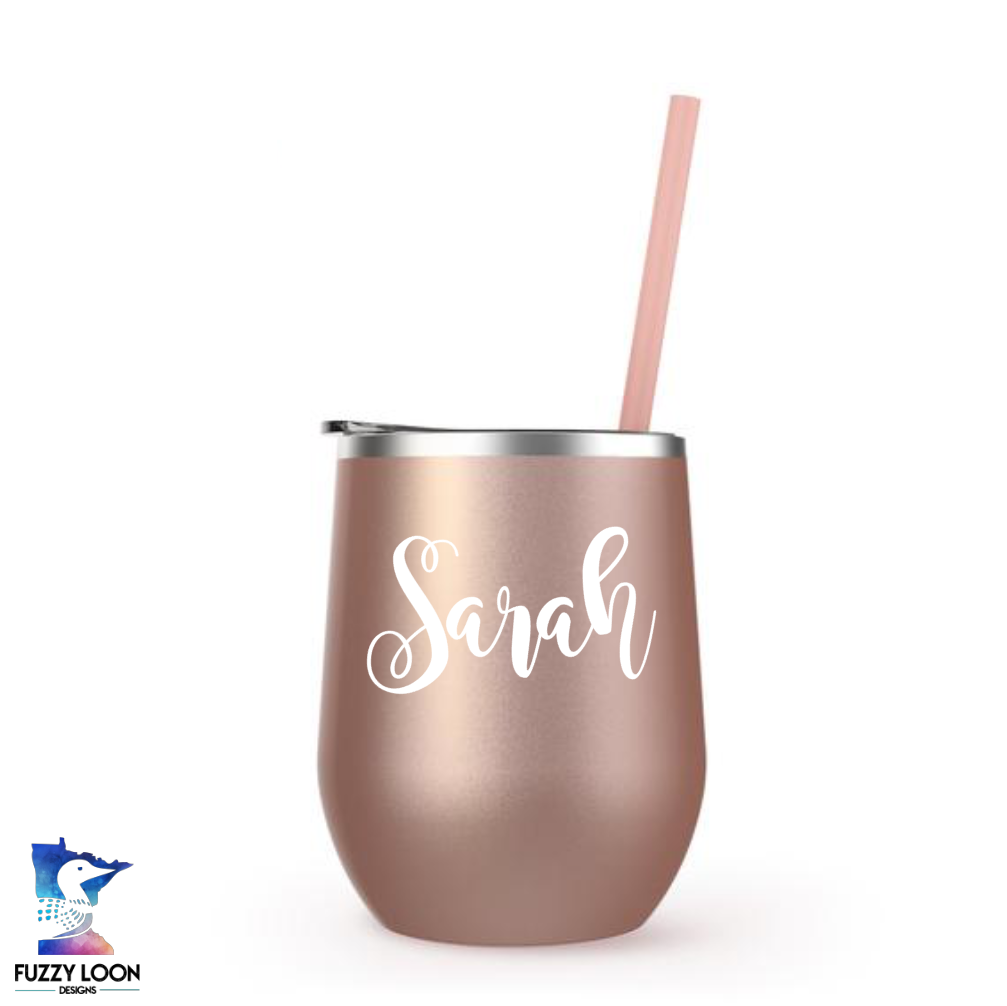 Rose Gold Personalized Wine Tumbler