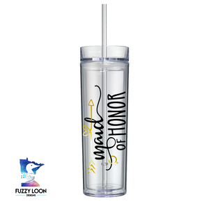 Maid Of Honor Skinny Clear Tumbler