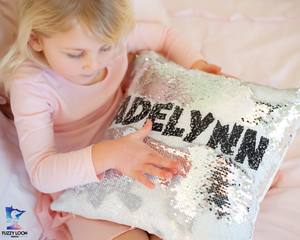 Personalized Mermaid Sequin Pillow (Bold Font)