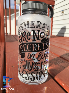 There Are No Regrets In Life Just Lessons Water Bottle