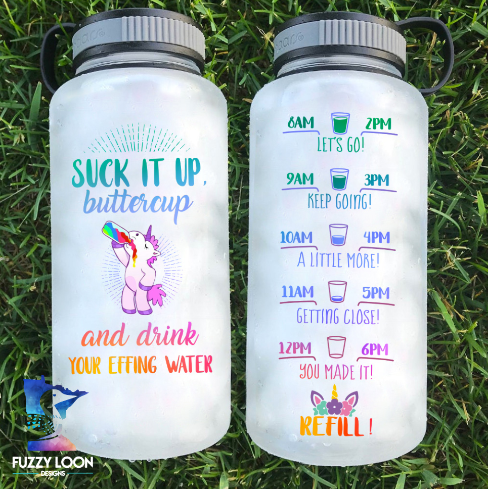 Suck It Up Buttercup Unicorn Water Bottle | 34 oz