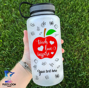 Personalized Teacher Apple 34oz Water Bottle