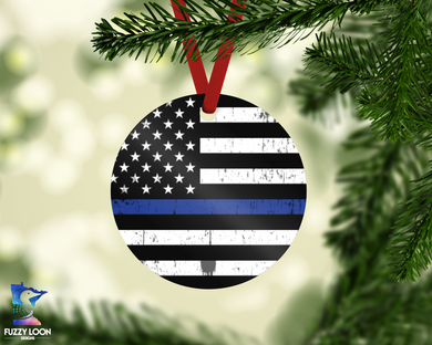 Thin Blue Line Police Ornament