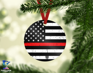 Thin Red Line Fire Fighter Ornament