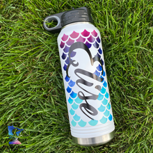 Personalized Mermaid Scales | 32oz Insulated Bottle with Straw and Spout