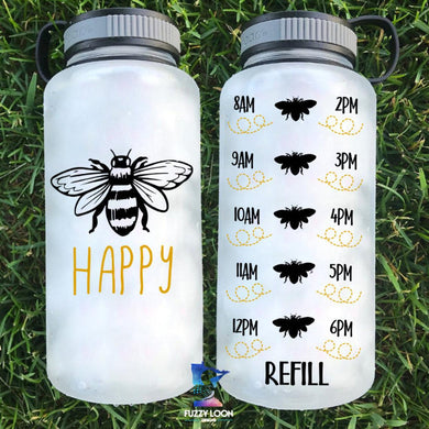 Bee Happy | Motivational Water Bottle | 34 oz