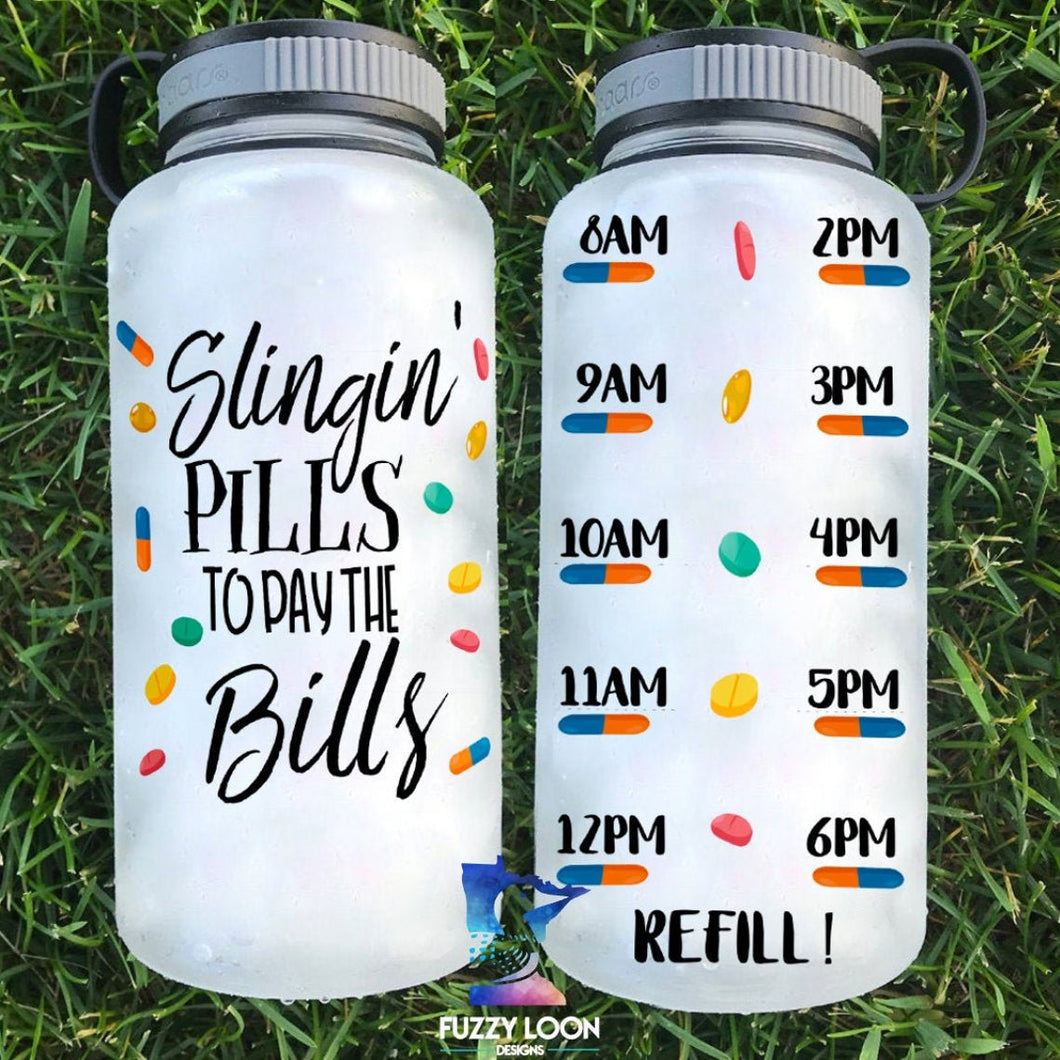 Slingin' Pills Pharmacist Water Bottle | 34oz
