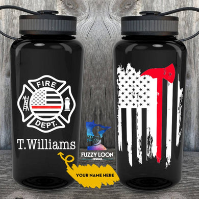 Personalized Thin Red Line Water Bottle | 34oz