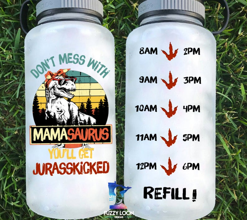 Dont' Mess With MamaSaurus Water Bottle | 34oz