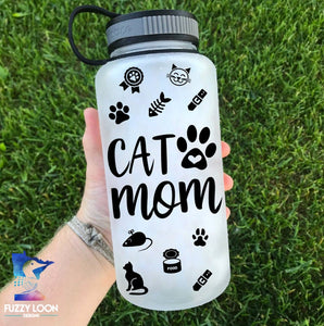 Cat Mom Water Bottle | 34oz