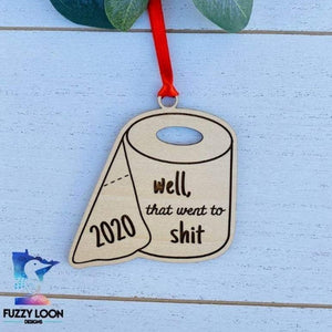 Wood 2020 Toilet Paper Ornament