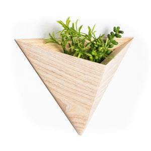 White Ash Wood Geometric Wall Planter
