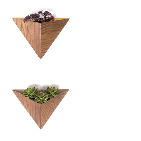 Triangle Planters, Black Walnut