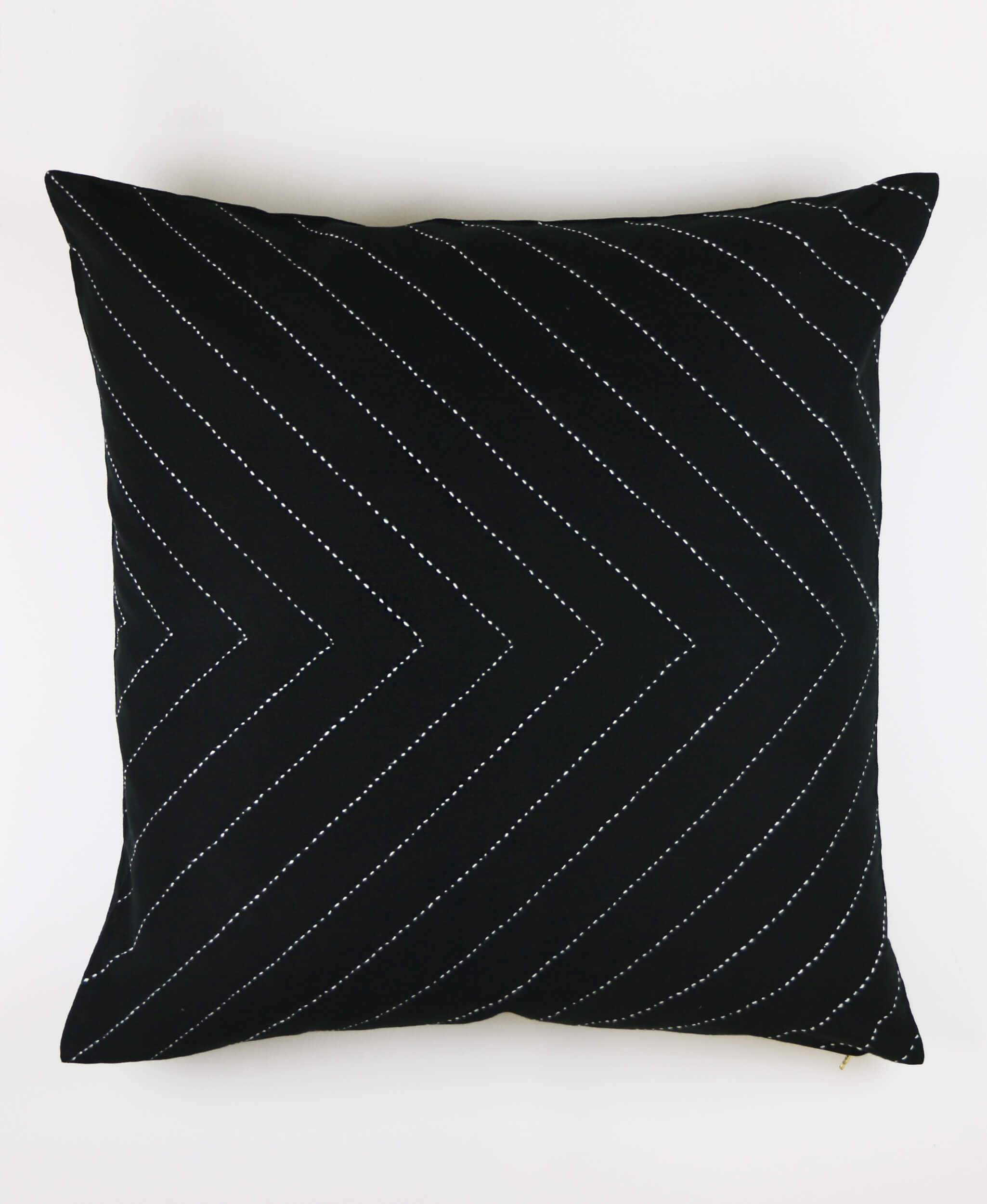 Charcoal Arrow Stitch Throw Pillow Cover
