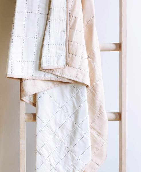 Organic Cotton Large Blanket in Sand & Bone