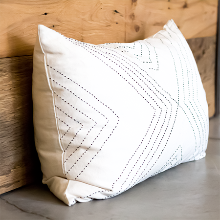 White Arrow Lumbar Pillow Cover