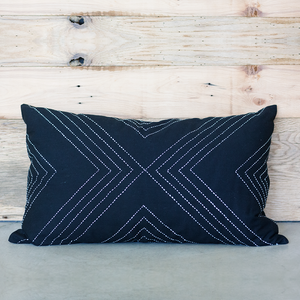 Charcoal Geometric Lumbar Pillow Cover