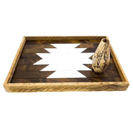 Reclaimed Wood Serving Tray - White Aztec