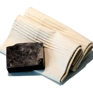 2 Grey Design Hand Towels & Elavi Charcoal Soap