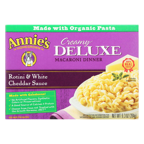 Annie's Homegrown Deluxe Rotini And White Cheddar Sauce - Case Of 12 - 9.3 Oz.
