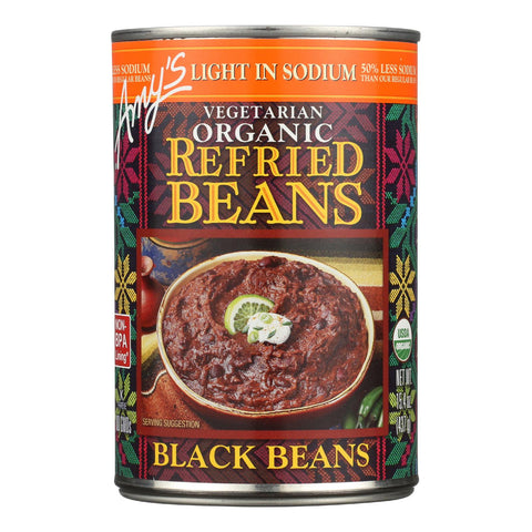 Amy's Organic Light In Sodium Refried Black Beans - Case Of 12 - 15.4 Oz.