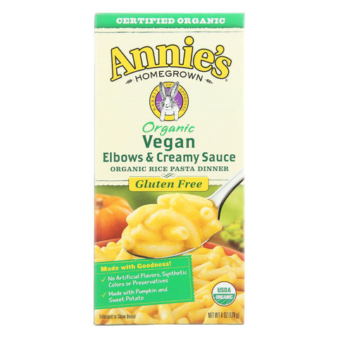 Annie's Homegrown Organic Gluten Free Vegan Elbows And Creamy Sauce Rice Pasta Dinner - Case Of 12 - 6 Oz.