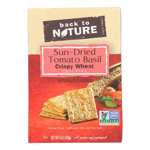 Back To Nature Crackers - Sundried Tomato Basil Crispy Wheat - Case Of 6 - 8 Oz.