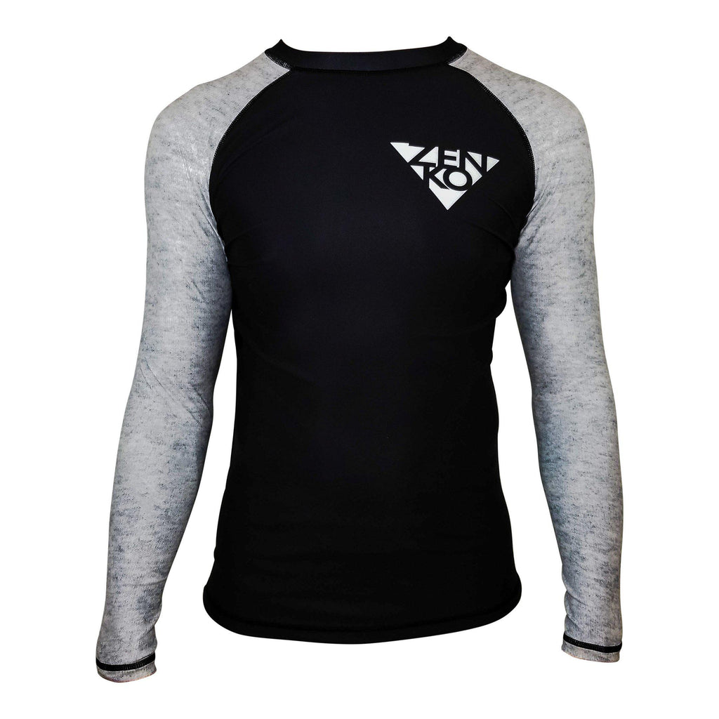 Zenko Fightwear Obsidian Rashguard Black Heather Gray Front
