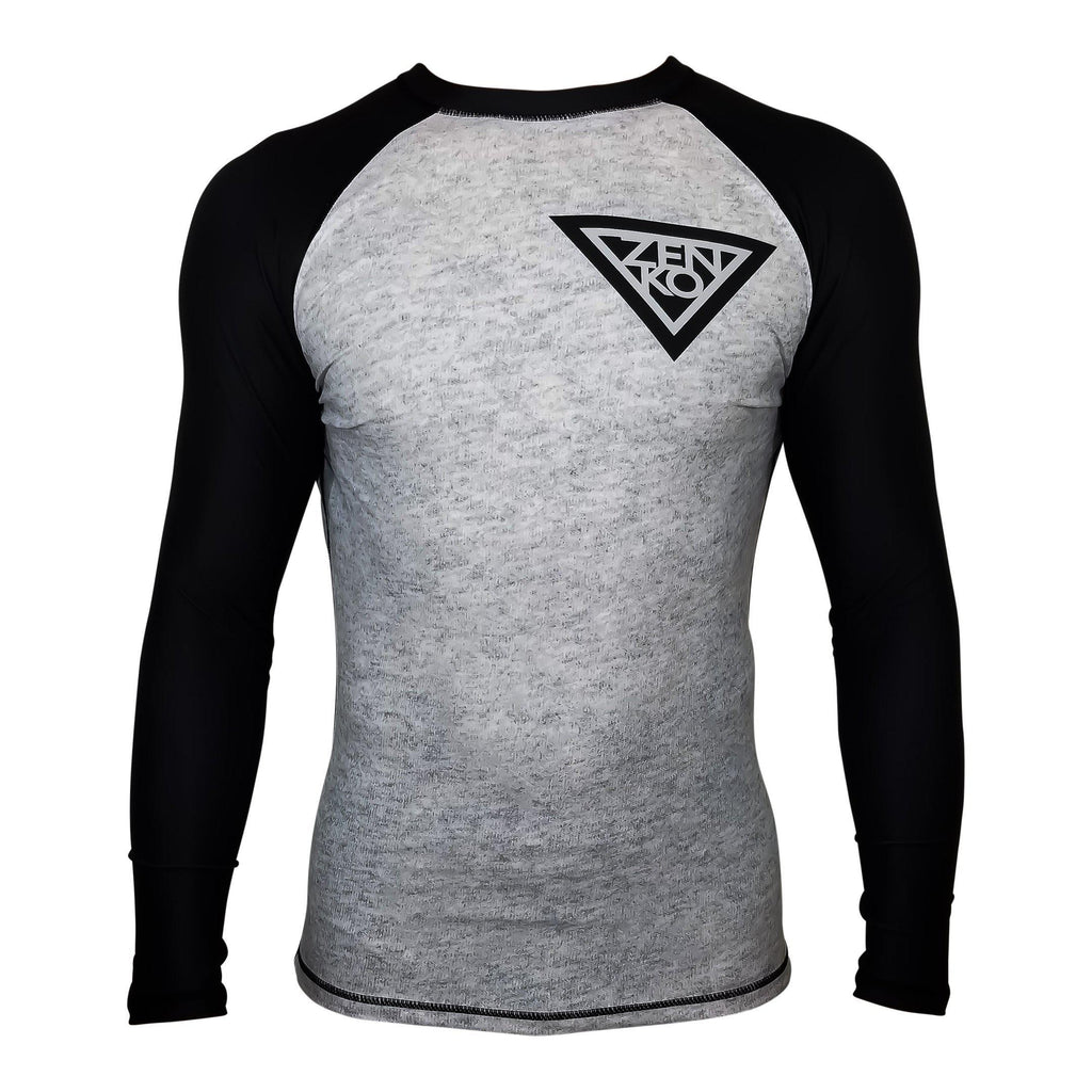 Zenko Fightwear Granite Rashguard Black Heather Gray Front