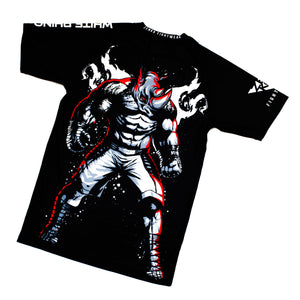 Asylum Fight Team - White Rhino Kickboxing Rhino Short Sleeve Rashguard - Zenko Fightwear