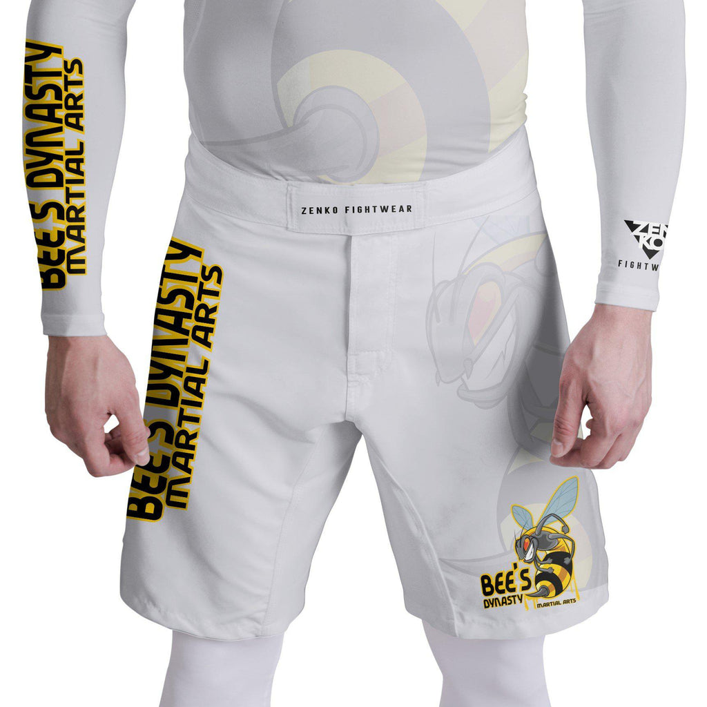Bee's Dynasty Fight Shorts (White) Zenko Fightwear