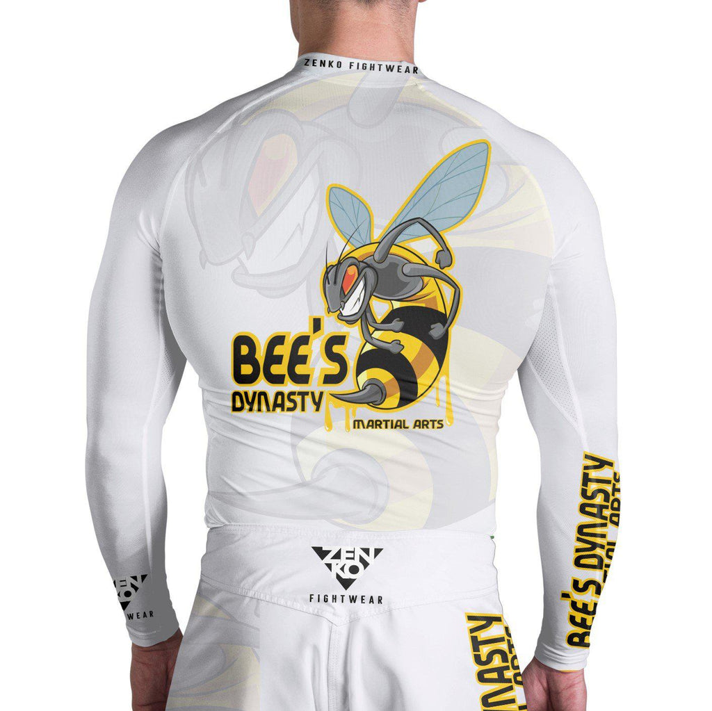 Bee's Dynasty Long Sleeve Rashguard (White) Zenko Fightwear