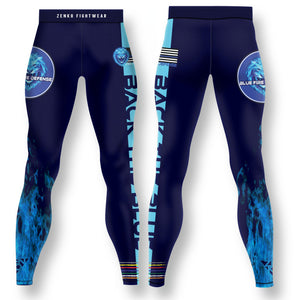 Blue Fire Defense Spats - Zenko Fightwear