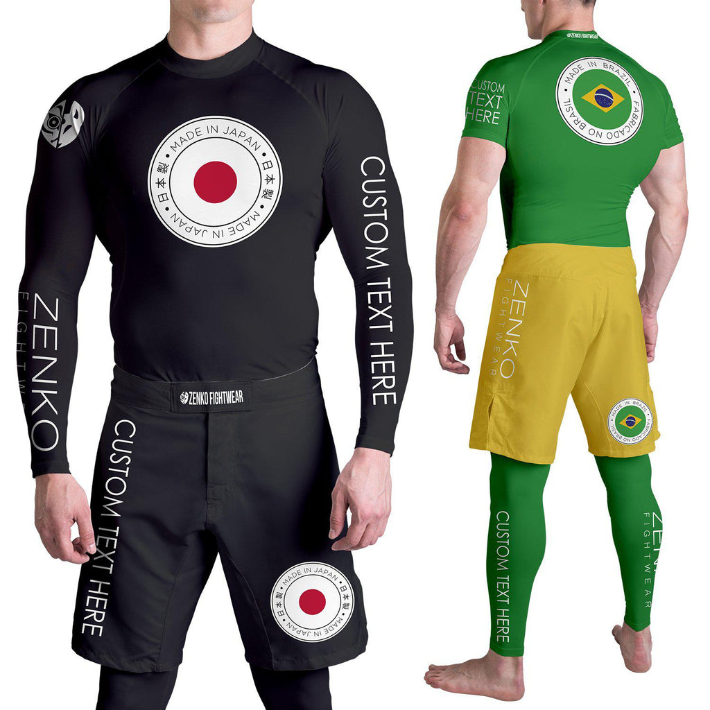 Zenko Fightwear Custom Heritage Collection Rashguard & Fight Shorts