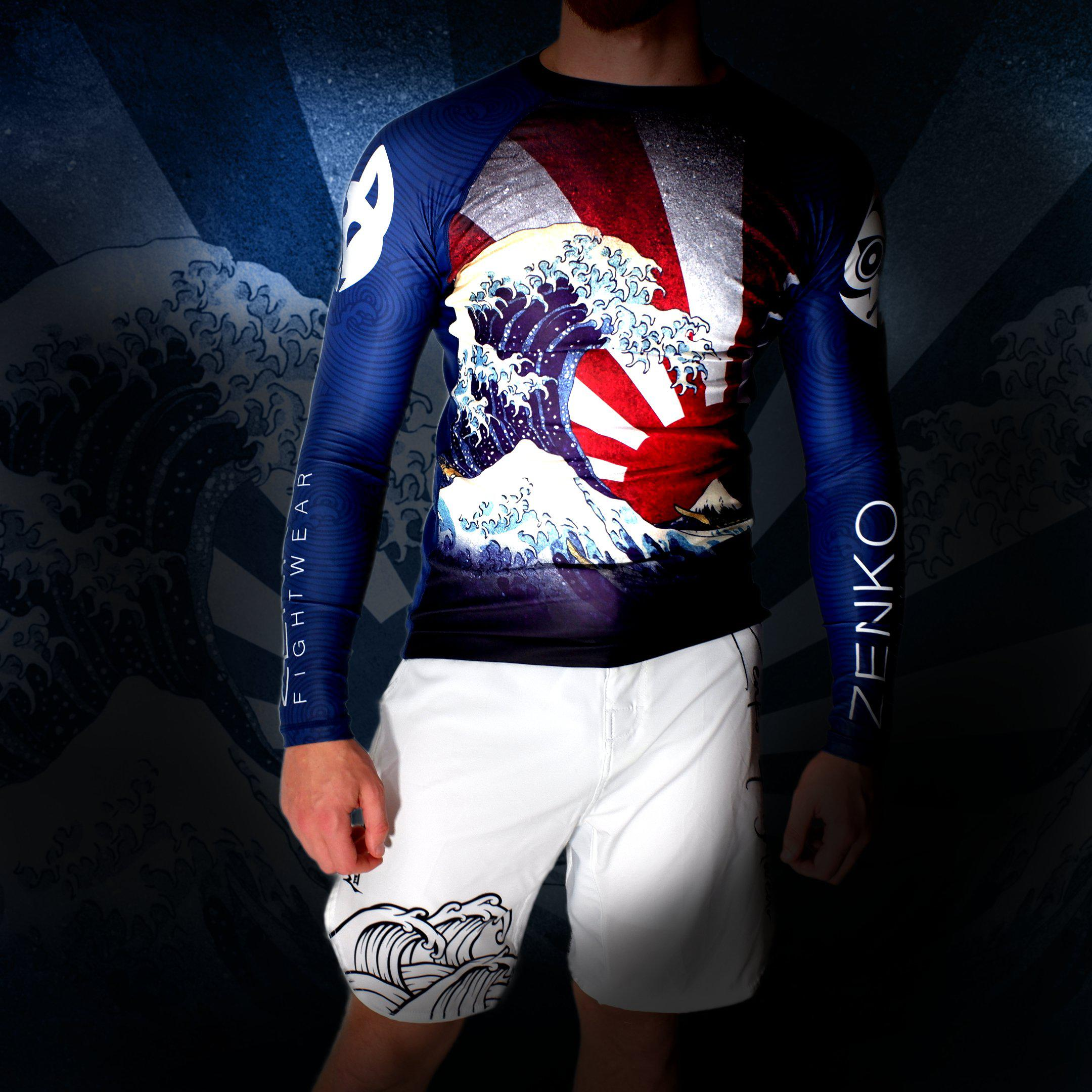 The Great Wave Rashguard + Mizu Grappling Shorts - Zenko Fightwear
