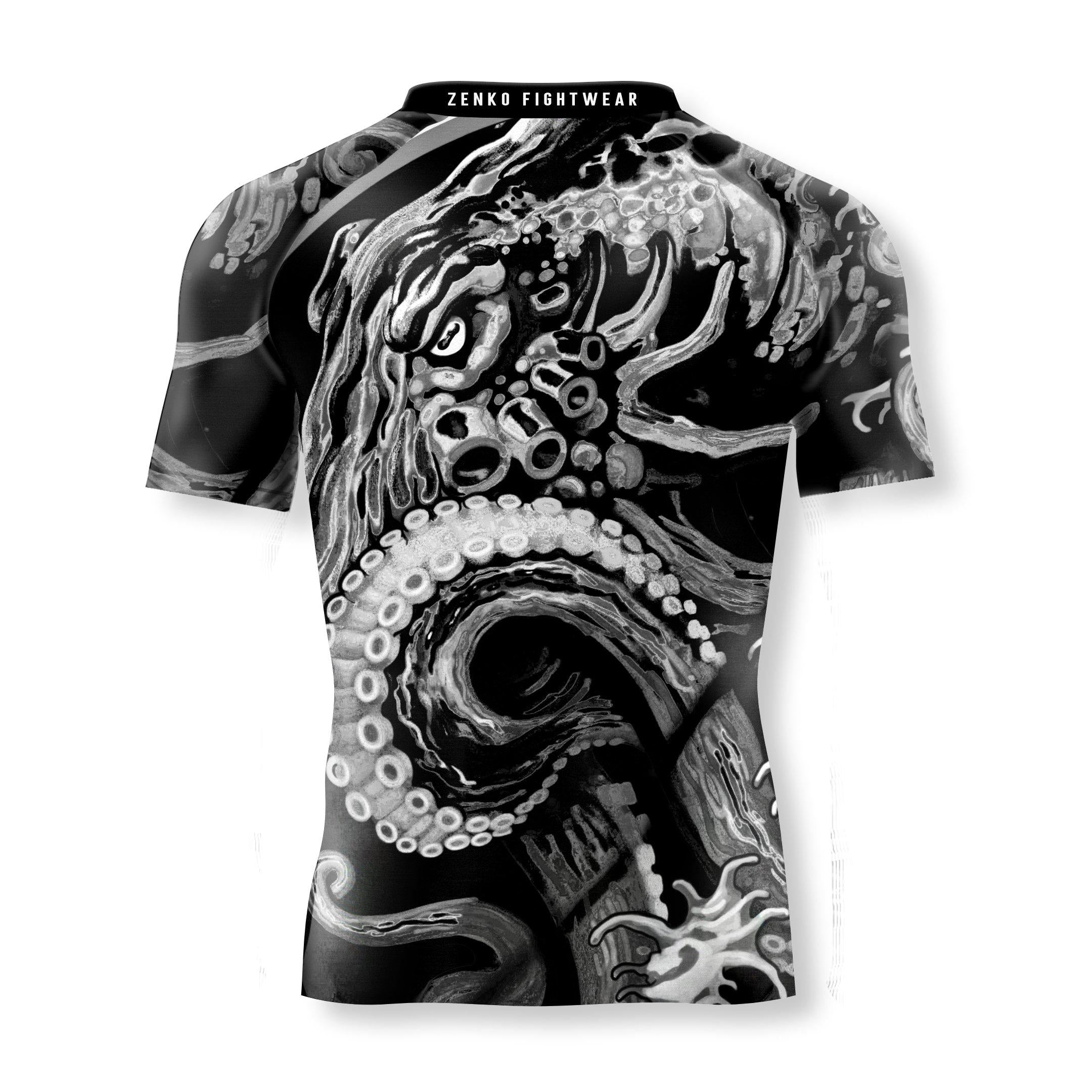 Monochrome Octopus Short Sleeve Rashguard - Zenko Fightwear